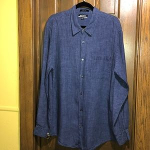 Brandini XL Linen men's button down, dark blue
